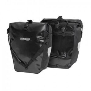 Alforjas para bicicleta de la marca Ortlieb diseñadas para la rueda trasera de la bicicleta y compatibles con el portabultos ElBurro Rack