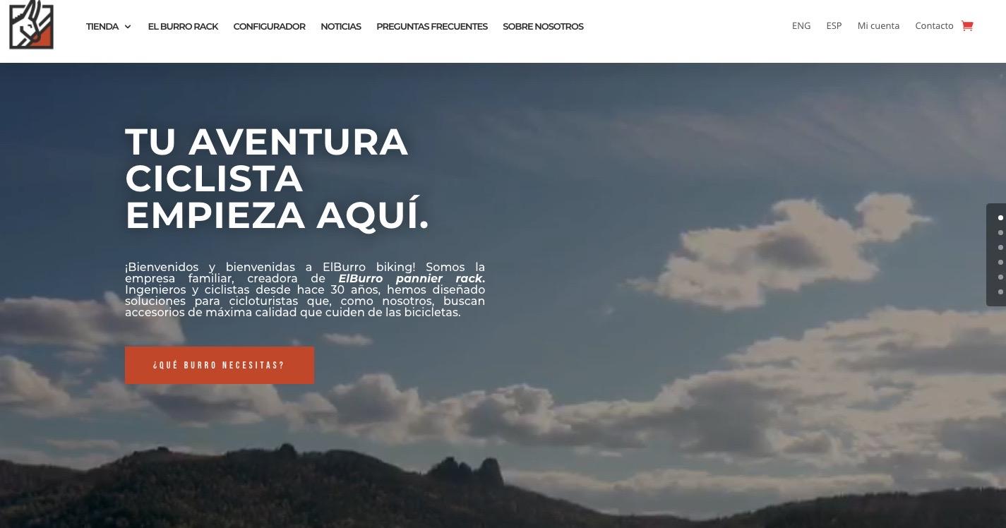 La cabecera de la página web de ElBurro Biking